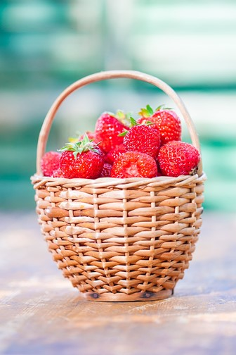 strawberries in a woven basket