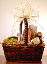 food gifts in woven basket